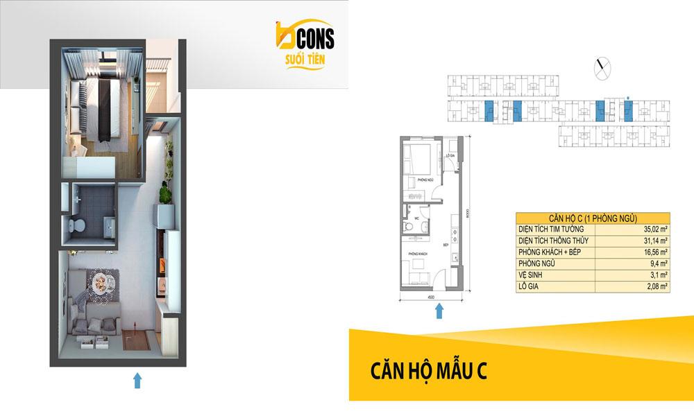 Thiết kế căn hộ Bcons suối tiên loại C