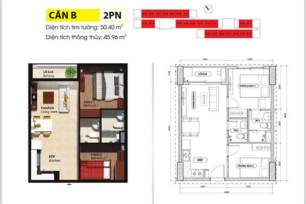 Chuyển nhượng Căn hộ 2PN 2WC tầng cao Bcons Suối Tiên