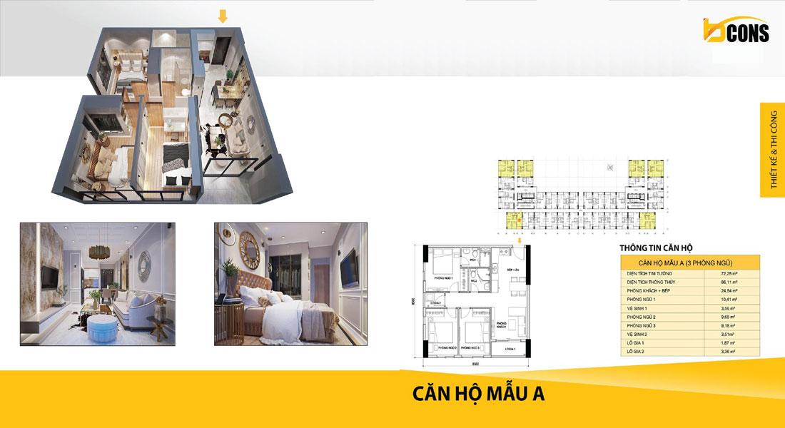 Thiết kế căn hộ Bcons miền Đông loại A cao cấp