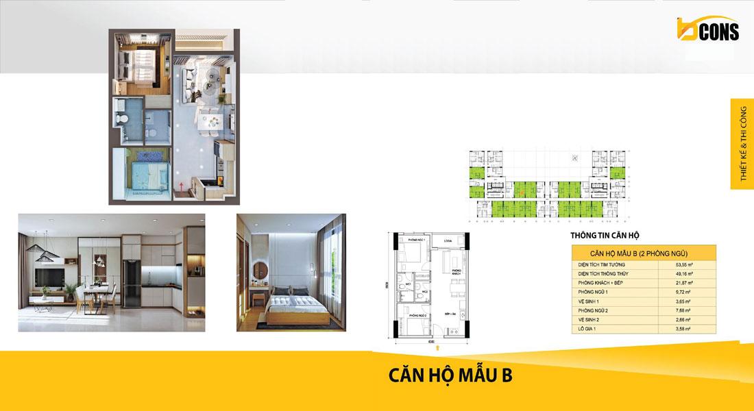 Thiết kế căn hộ Bcons miền Đông loại B giá rẻ