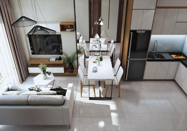 Phòng khách nhà bếp căn hộ Bcons suối tiên loại B