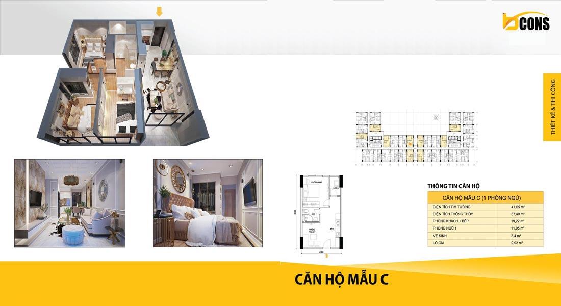 Thiết kế căn hộ Bcons miền Đông loại C giá rẻ