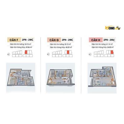 Chuyển Nhượng CH 2PN 2WC 55-61m2 Bcons Bee Giá 1Tỷ6